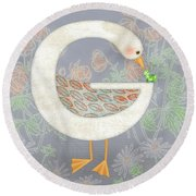 G Is For Goose And Grasshopper Round Beach Towel