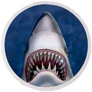 Jaws Great White Shark Art Round Beach Towel by Walt Curlee