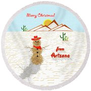 Tumbleweed Snowman Christmas Card Round Beach Towel by Methune Hively