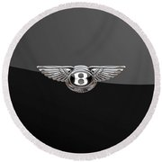 Bentley - 3d Badge On Black Round Beach Towel by Serge Averbukh