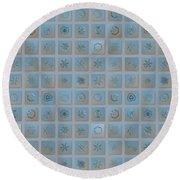 Snowflake Collage - Season 2013 Bright Crystals Round Beach Towel