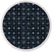 Round Beach Towel featuring the photograph Snowflake Collage - Season 2013 Dark Crystals by Alexey Kljatov