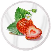 Artz Vitamins A Strawberry Heart Round Beach Towel by Irina Sztukowski