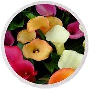 Arum Lilies Round Beach Towel