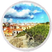 Arzachena Landscape With Clouds Round Beach Towel