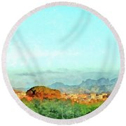 Arzachena Landscape With Mountains Round Beach Towel