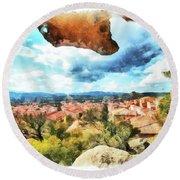 Arzachena Landscape With Rock Snd Clouds Round Beach Towel