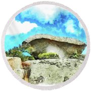 Arzachena Mushroom Rock Round Beach Towel