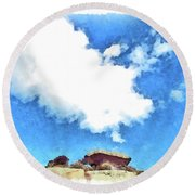 Arzachena Mushroom Rock With Cloud Round Beach Towel
