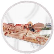 Arzachena Roof And Church Round Beach Towel