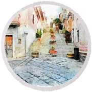 Arzachena View Staircase And Church Round Beach Towel