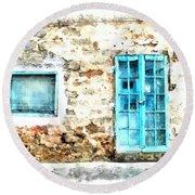 Arzachena Window And Blue Door Store Round Beach Towel