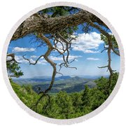 Round Beach Towel featuring the photograph 'as Far As The Eye Can See' by Charles Ables