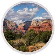 Round Beach Towel featuring the photograph As The Clouds Pass On By In Sedona  by Saija Lehtonen