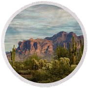 Round Beach Towel featuring the photograph As The Evening Arrives In The Sonoran  by Saija Lehtonen