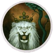 As The Lion Laughs Round Beach Towel by Leah Saulnier The Painting Maniac