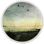 Round Beach Towel featuring the photograph As The Sky Darkens  by Connie Handscomb
