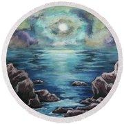As The Spirit Moves Round Beach Towel by Cheryl Pettigrew