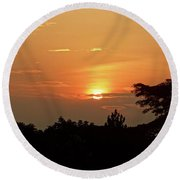 As The Sun Sets ... Orange Round Beach Towel