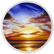 As The Sun Sets Round Beach Towel