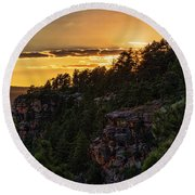 Round Beach Towel featuring the photograph As The Sun Sets On The Rim  by Saija Lehtonen