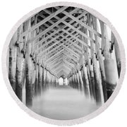 As The Water Fades Grayscale Round Beach Towel