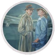 Round Beach Towel featuring the painting As Time Goes By by Bryan Bustard