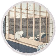 Asakusa Rice Fields And Festival Of Torinomachi From The Series One Hundred Famous Views Of Edo Round Beach Towel