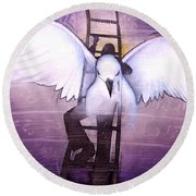 Round Beach Towel featuring the painting Ascension by Christopher Marion Thomas