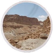 Round Beach Towel featuring the photograph Ascension To Masada - Judean Desert, Israel by Yoel Koskas