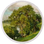 Ash Trees At Cropthorne Worcestershire Round Beach Towel