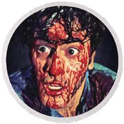 Round Beach Towel featuring the painting Ash Williams by Taylan Apukovska