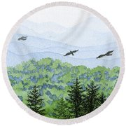 Asheville Blues Round Beach Towel by Anne Marie Brown