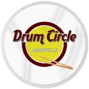 Asheville Drum Circle Logo Round Beach Towel