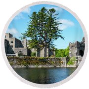 Ashford Castle And Cong River Round Beach Towel