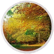 Round Beach Towel featuring the photograph Ashridge Autumn by Anne Kotan