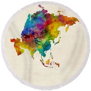 Asia Continent Watercolor Map Round Beach Towel