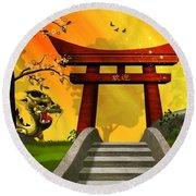 Asian Art Chinese Landscape  Round Beach Towel by John Wills