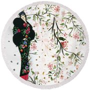 Asian Art Deco Beauty Round Beach Towel