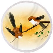Round Beach Towel featuring the digital art Asian Art Two Little Sparrows by John Wills