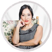 Asian Business Woman Round Beach Towel