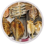 Asian Grilled Barbecued Seafood In Kep Market Cambodia Round Beach Towel