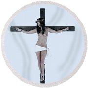 Asian Jesus On Cross Round Beach Towel