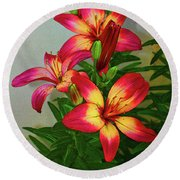 Asian Lilly Spring Time Round Beach Towel