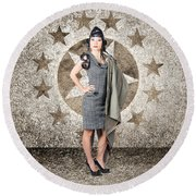 Asian Military Pinup Girl In Retro Air Force Style Round Beach Towel