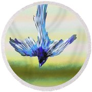 Round Beach Towel featuring the digital art Asian Paradise Flycatcher by Iowan Stone-Flowers