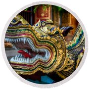 Asian Temple Dragon Round Beach Towel by Adrian Evans