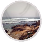 Asilomar Beach Pacific Grove Ca Usa Round Beach Towel