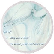 Round Beach Towel featuring the pastel Ask Yourself by Denise Fulmer