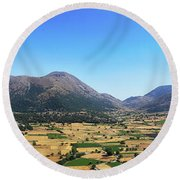 Askifou Plateau Panorama Round Beach Towel